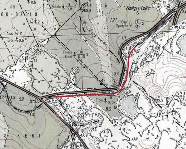 Szépvízér-Katonacsapás összekötő szakasz nyomvonala.